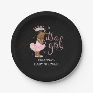 Ethnic It's a Girl Princess Baby Shower plates 7 Inch Paper Plate