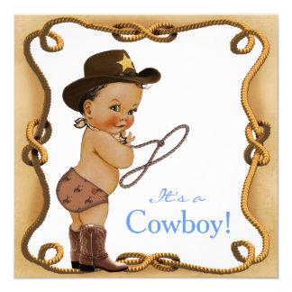 Ethnic Little Cowboy Baby Shower 13 Cm X 13 Cm Square Invitation Card