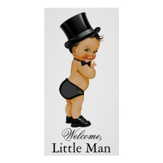 Ethnic Little Man Boy Baby Shower Banner Poster