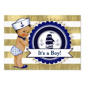 Ethnic Little Sailor Boy Nautical Baby Shower 13 Cm X 18 Cm Invitation Card