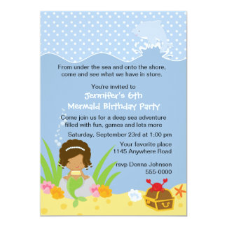 Ethnic Mermaid with Dolphin Birthday Invitation