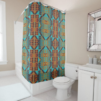 Ethnic Native American Indian Tribal Pattern Art Shower Curtain