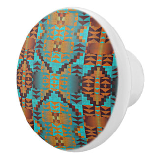 Ethnic Native American Indian Tribal Pattern Ceramic Knob