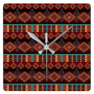 ethnic navajo seamless pattern square wall clock