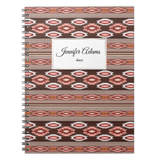 ethnic navajo southwestern  pattern. Name. Spiral Notebook
