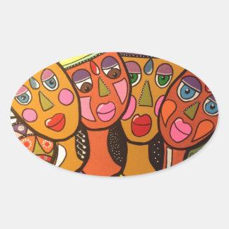 ethnic oval sticker