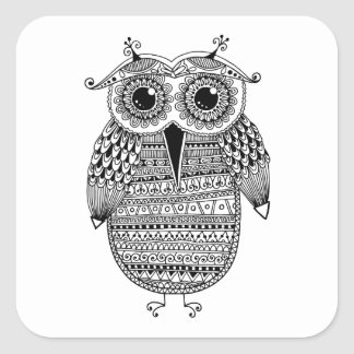 Ethnic Owl Ink Drawing Square Sticker