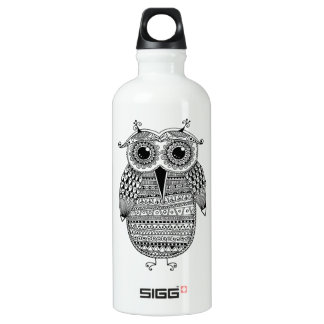 Ethnic Owl Ink Drawing Water Bottle