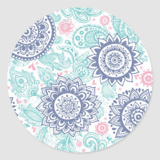 Ethnic Paisley Pattern Classic Round Sticker