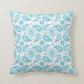 ethnic paisley teal pattern. cushion