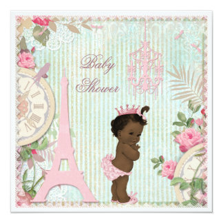"Ethnic Paris Princess Shabby Chic Baby Shower 5.25"" Square Invitation Card"