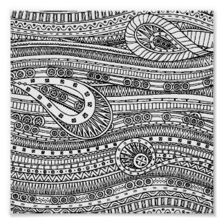 Ethnic Pattern Doodle 2 Poster