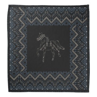 Ethnic pattern with american ornament and horse bandana