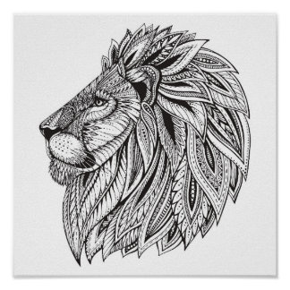 Ethnic Patterned Lion Head 2 Poster