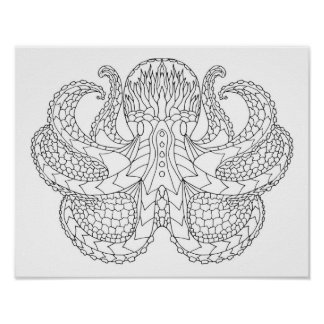Ethnic Patterned Octopus 2 Poster