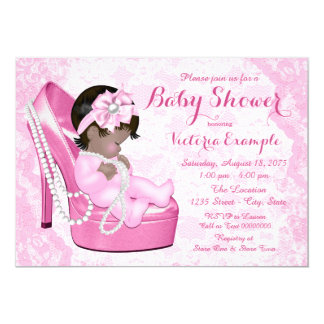 Ethnic Pink Lace Pearl Shoe Baby Shower 13 Cm X 18 Cm Invitation Card