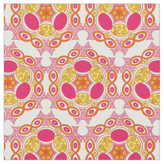 Ethnic pink, yellow and orange pattern fabric
