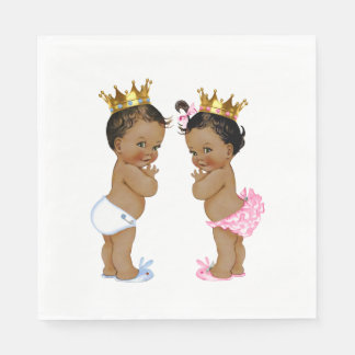 Ethnic Prince and Princess Baby Shower Paper Napkin