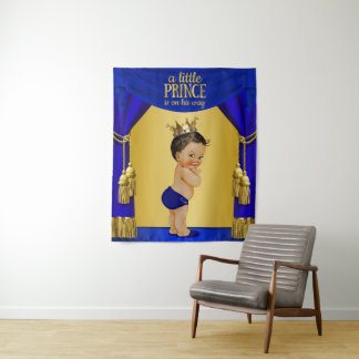 Ethnic Prince Baby Shower Backdrop Tapestry