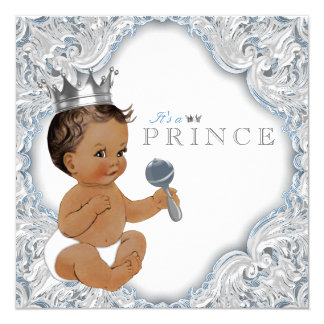 Ethnic Prince Baby Shower Blue and Silver 13 Cm X 13 Cm Square Invitation Card