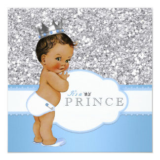 """Ethnic Prince Baby Shower Blue and Silver 5.25"""" Square Invitation Card"""