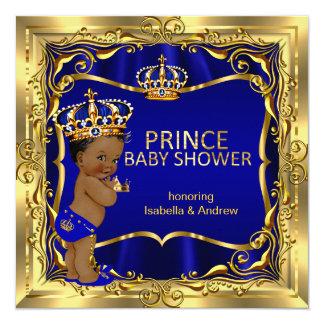 Ethnic Prince Baby Shower Boy Blue Gold Invitation