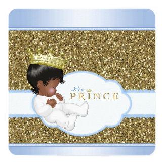 Ethnic Prince Blue Gold Boy Baby Shower 13 Cm X 13 Cm Square Invitation Card