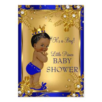 Ethnic Prince Boy Baby Shower Gold Blue Floral 13 Cm X 18 Cm Invitation Card