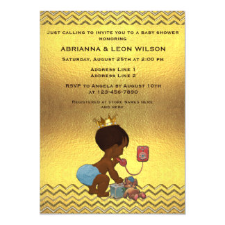 Ethnic Prince on Phone Gold Chevrons Baby Shower Magnetic Invitations
