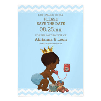 Ethnic Prince on Phone Save The Date Gray Blue Magnetic Invitations