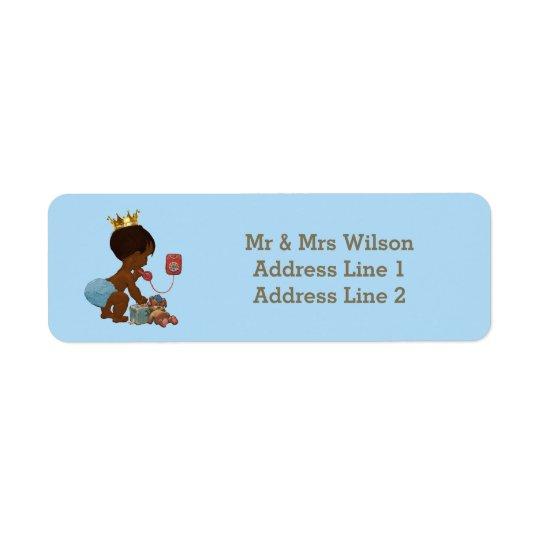 Ethnic Prince Phone Suitcase Blue Baby Shower Return Address Label