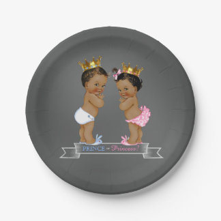 Ethnic Prince Princess Chalkboard Baby Shower 7 Inch Paper Plate