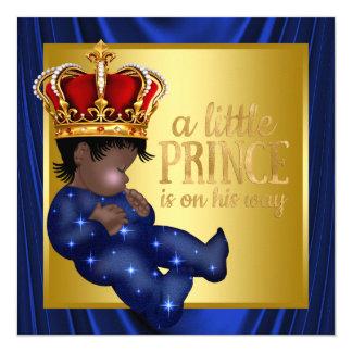 Ethnic Prince Royal Blue Crown Baby Shower 13 Cm X 13 Cm Square Invitation Card