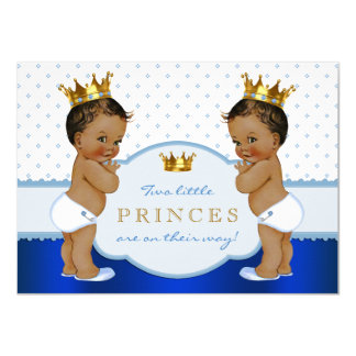 Ethnic Prince Twin Boy Baby Shower Card