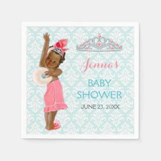 Ethnic Princess Baby Girl Tiara Pink & Aqua Disposable Napkins
