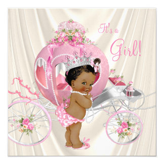 """Ethnic Princess Baby Shower Pink and Ivory Pearl 5.25"""" Square Invitation Card"""