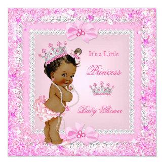 Ethnic Princess Baby Shower Pink Glitter Tiara Card