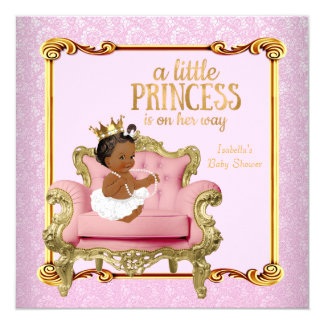 Ethnic Princess Baby Shower Pink Gold Chair 13 Cm X 13 Cm Square Invitation Card