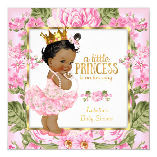 Ethnic Princess Baby Shower Pink Gold Rose Floral 13 Cm X 13 Cm Square Invitation Card