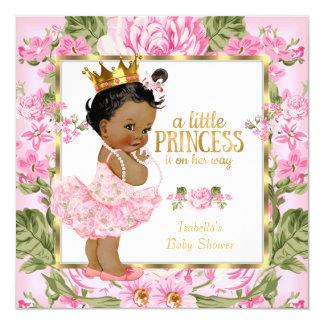 Ethnic Princess Baby Shower Pink Gold Rose Floral Card