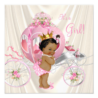 """Ethnic Princess Baby Shower Pink Ivory Pearl 5.25"""" Square Invitation Card"""
