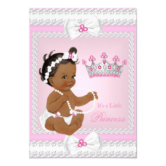Ethnic Princess Baby Shower Pink White Pearls Bows 13 Cm X 18 Cm Invitation Card