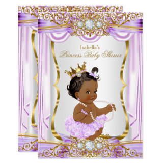 Ethnic Princess Baby Shower Purple Silk Gold Card
