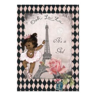 Ethnic Princess Ballerina Eiffel Tower Baby Shower 5x7 Paper Invitation Card
