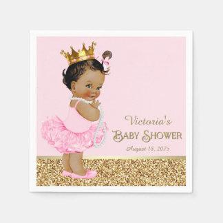 Ethnic Princess Ballerina Pink Gold Baby Shower Disposable Serviettes