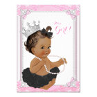Ethnic Princess Black Tutu Lace Pearl Baby Shower Card