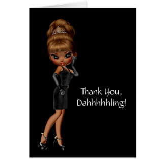 Ethnic Princess Diva Thank You Note Card