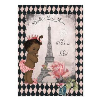 Ethnic Princess Eiffel Tower Rose Baby Shower 5x7 Paper Invitation Card