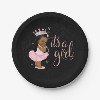 Ethnic Princess It's a Girl Baby Shower plates 7 Inch Paper Plate