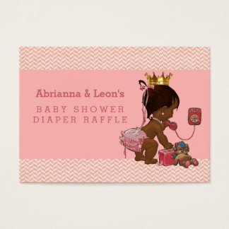 Ethnic Princess on Phone Chevrons Diaper Raffle Business Card